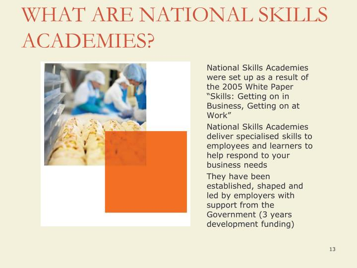 "National Skills Academies were set up as a result of the 2005 White Paper ""Skills: Getting on in Business, Getting on at Work"""