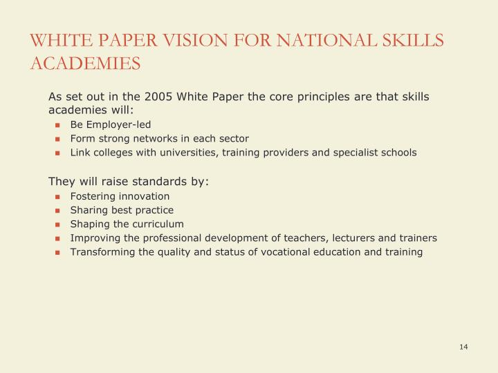 WHITE PAPER VISION FOR NATIONAL SKILLS ACADEMIES