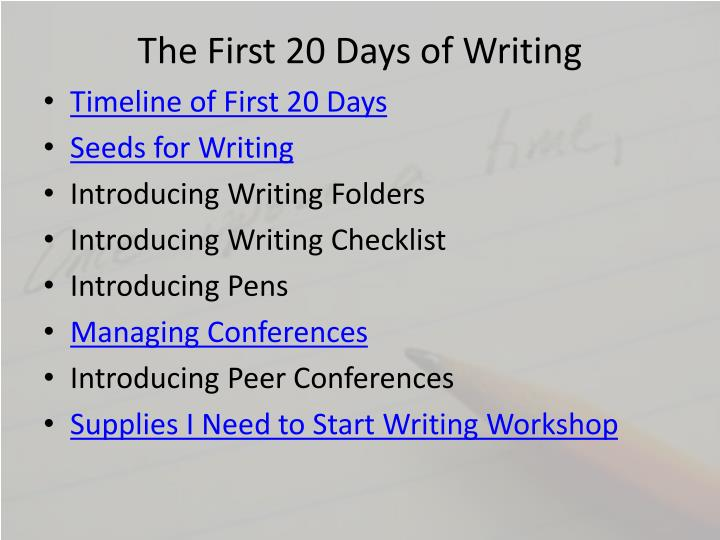 The first 20 days of writing1