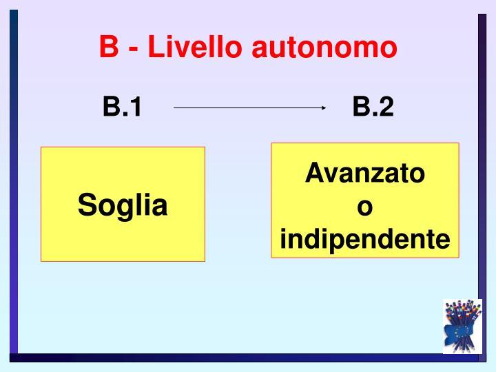 B - Livello autonomo