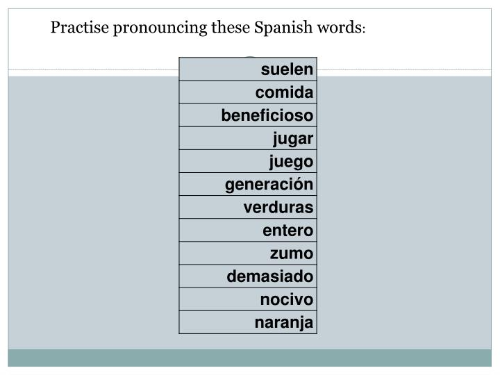 Practise pronouncing these Spanish words