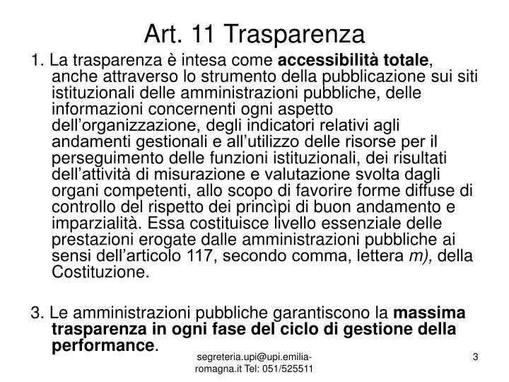 Art. 11 Trasparenza