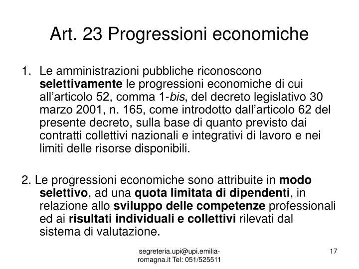 Art. 23 Progressioni economiche