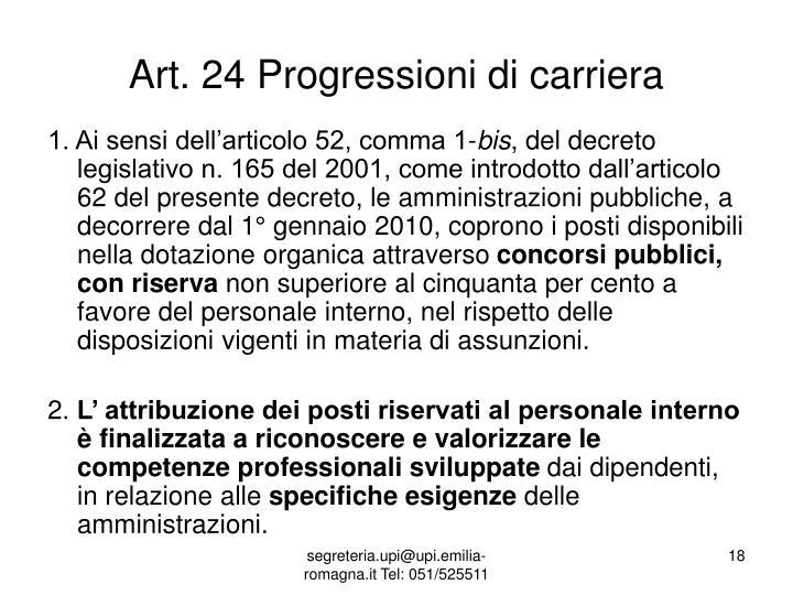 Art. 24 Progressioni di carriera