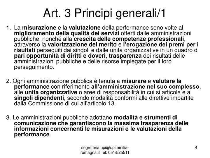 Art. 3 Principi generali/1