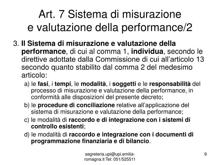 Art. 7 Sistema di misurazione