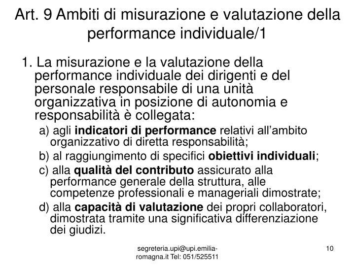 Art. 9 Ambiti di misurazione e valutazione della performance individuale/1