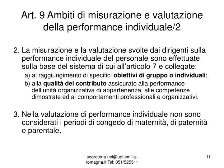 Art. 9 Ambiti di misurazione e valutazione della performance individuale/2