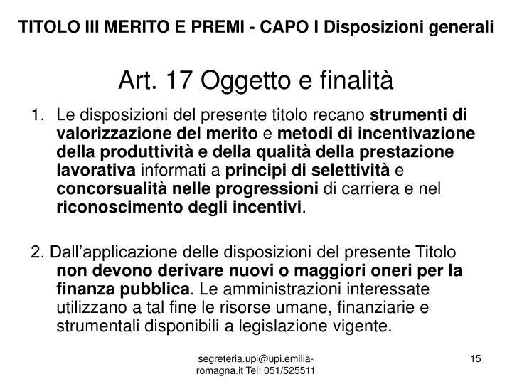 TITOLO III MERITO E PREMI - CAPO I Disposizioni generali