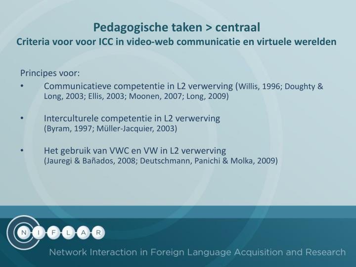 Pedagogische taken > centraal
