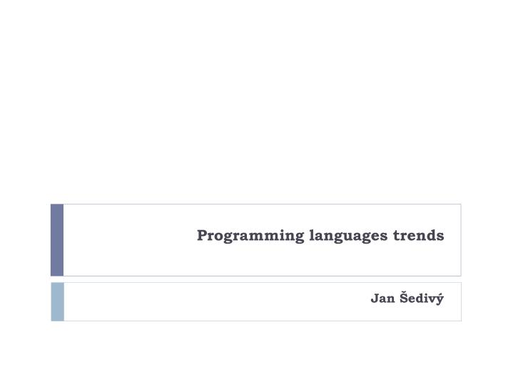 Programming languages trends