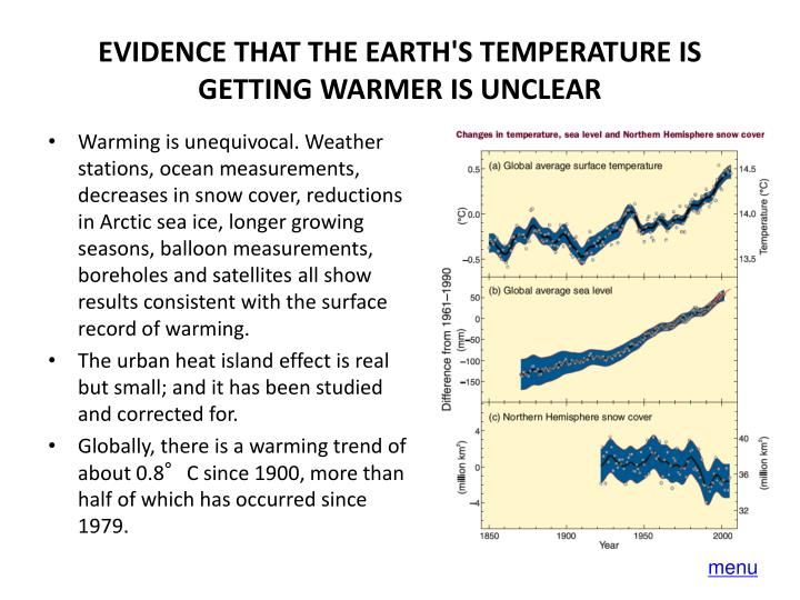 EVIDENCE THAT THE EARTH'S TEMPERATURE IS GETTING WARMER IS UNCLEAR
