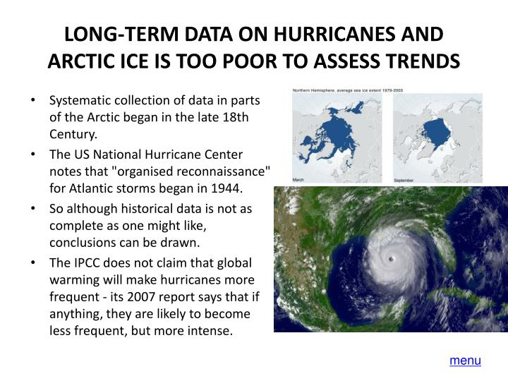 LONG-TERM DATA ON HURRICANES AND ARCTIC ICE IS TOO POOR TO ASSESS TRENDS