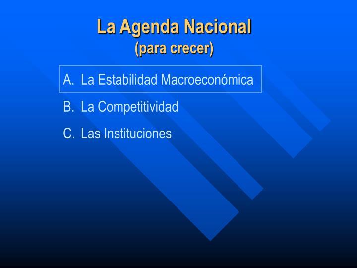 La Agenda Nacional