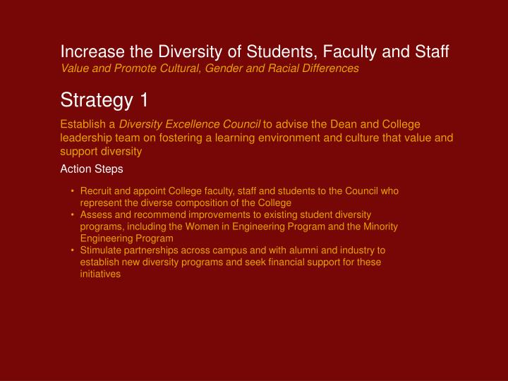 Increase the Diversity of Students, Faculty and Staff