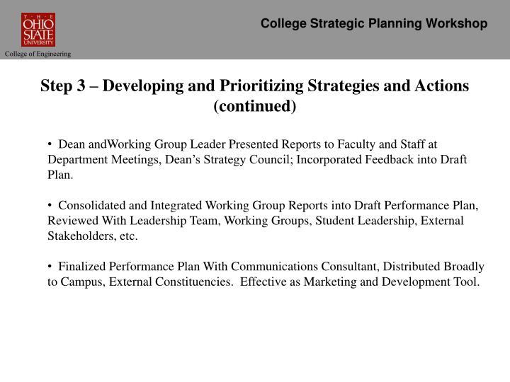 College Strategic Planning Workshop