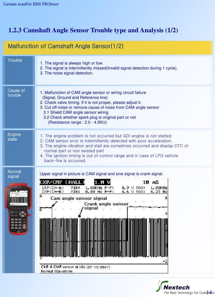 Malfunction of Camshaft Angle Sensor(1/2)