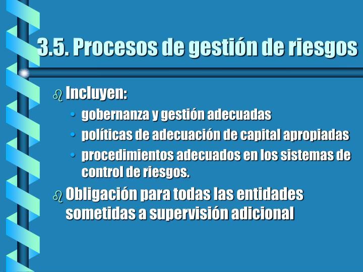 3.5. Procesos de gestión de riesgos