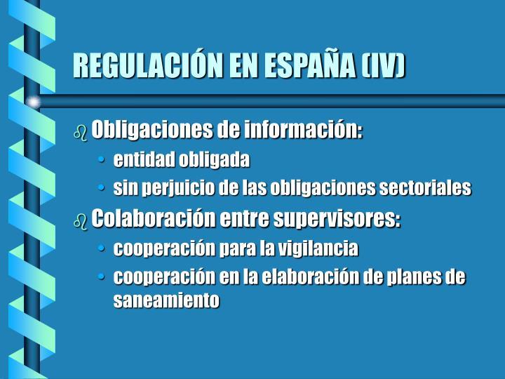 REGULACIÓN EN ESPAÑA (IV)