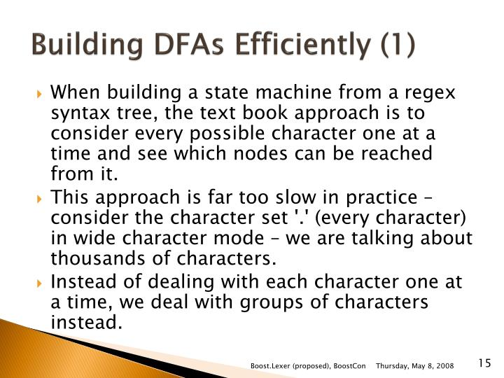 Building DFAs Efficiently (1)