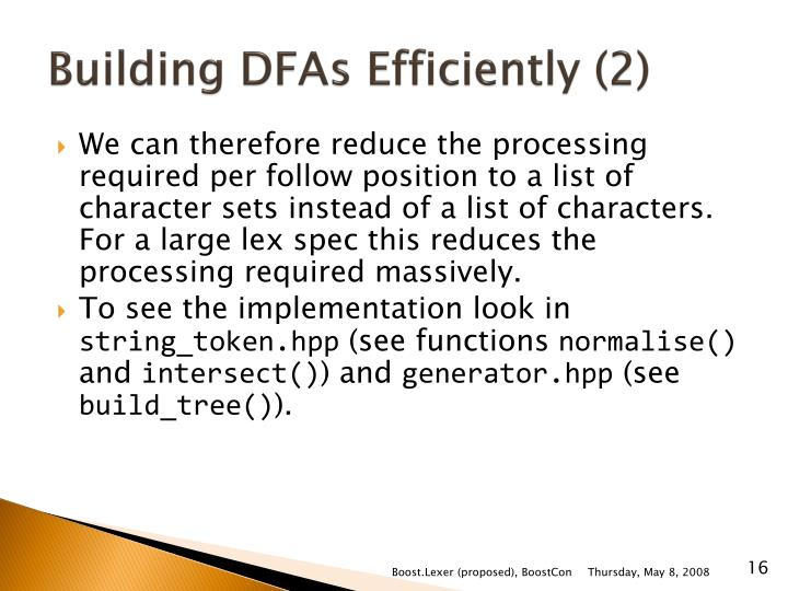 Building DFAs Efficiently (2)