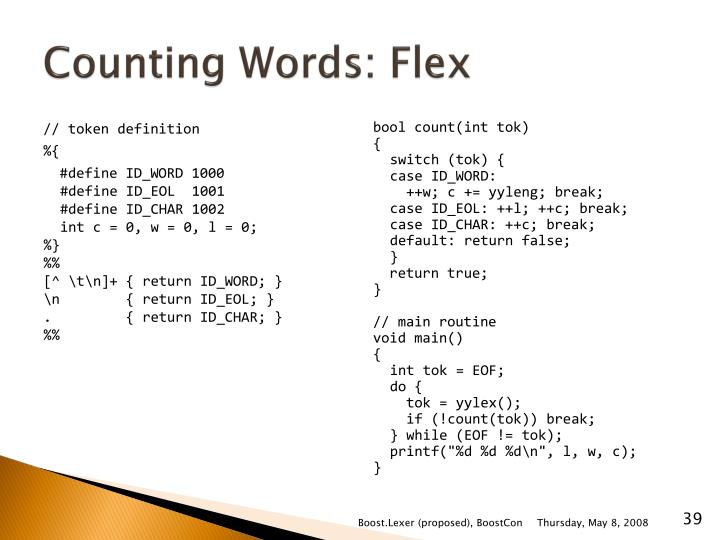 Counting Words: Flex