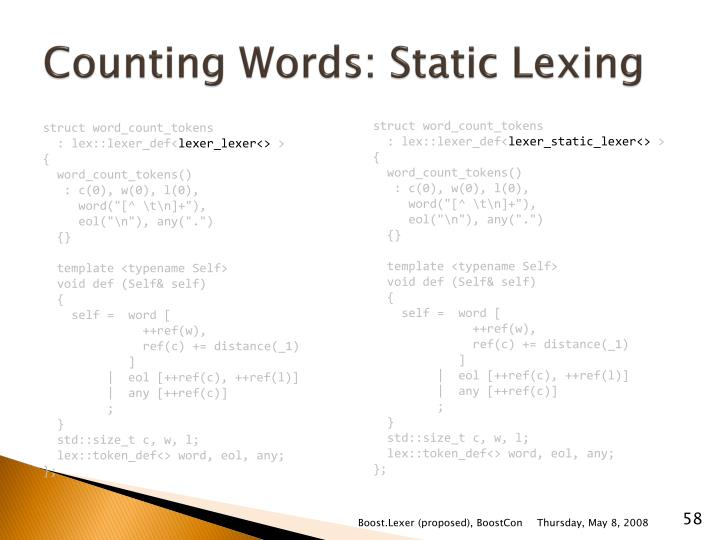 Counting Words: Static
