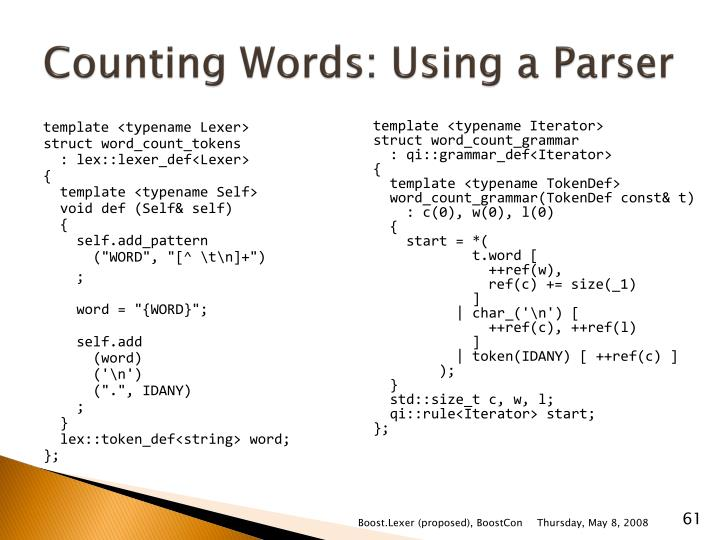 Counting Words: Using a Parser