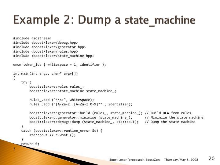 Example 2: Dump a