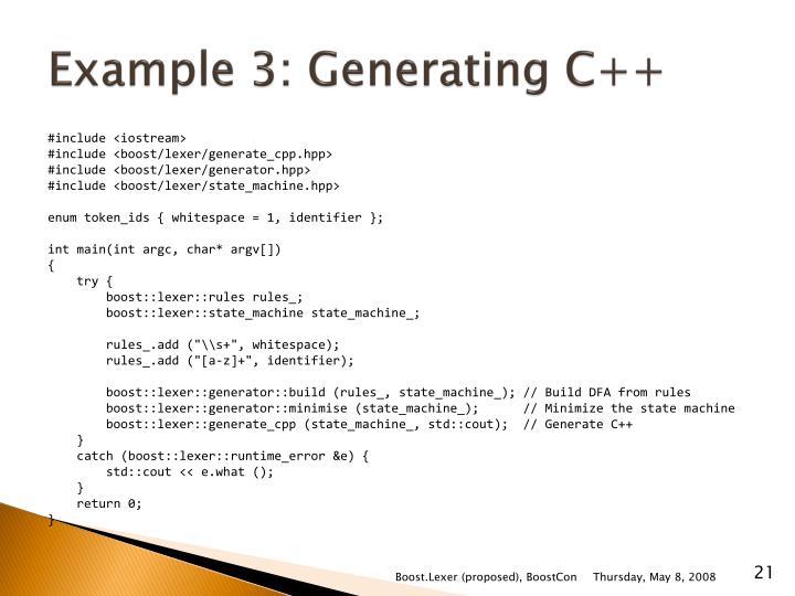 Example 3: Generating C++