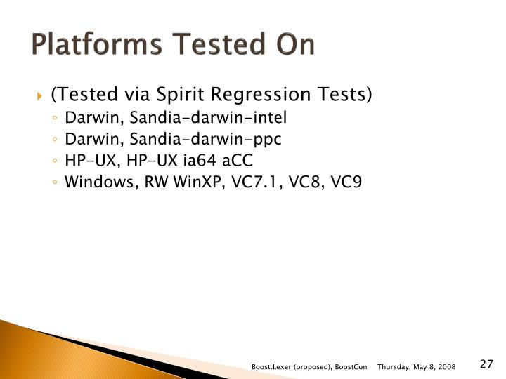 Platforms Tested On