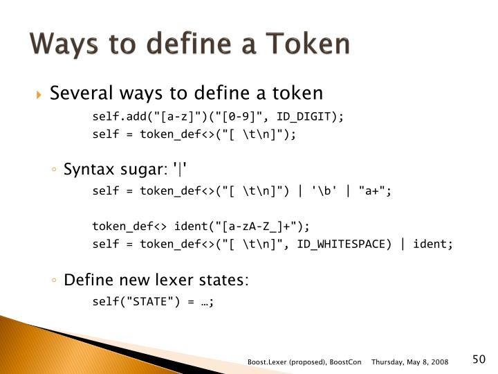 Ways to define a Token