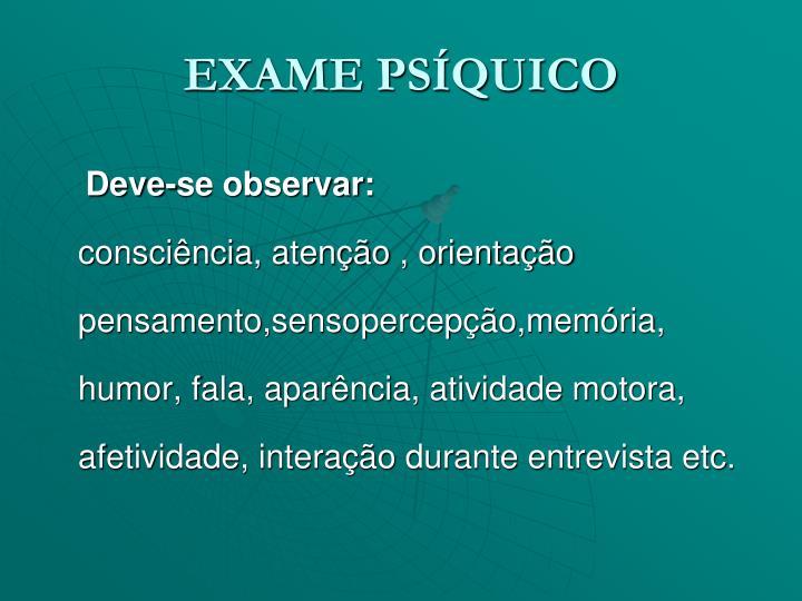 EXAME PSÍQUICO