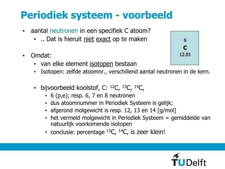 Periodiek systeem - voorbeeld
