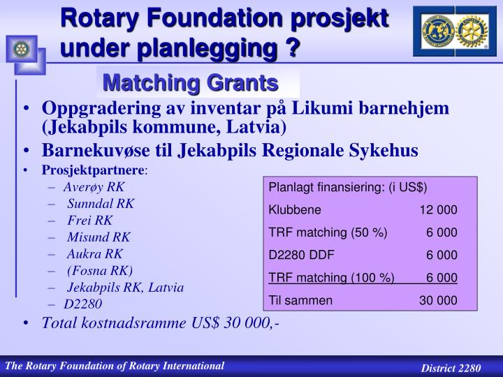 Rotary Foundation prosjekt  under planlegging ?