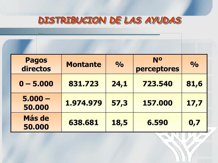 DISTRIBUCION DE LAS AYUDAS