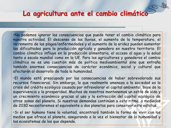 La agricultura ante el cambio climático