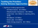 tackling the priorities seizing stimulus opportunities