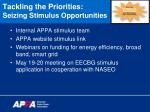 tackling the priorities seizing stimulus opportunities1