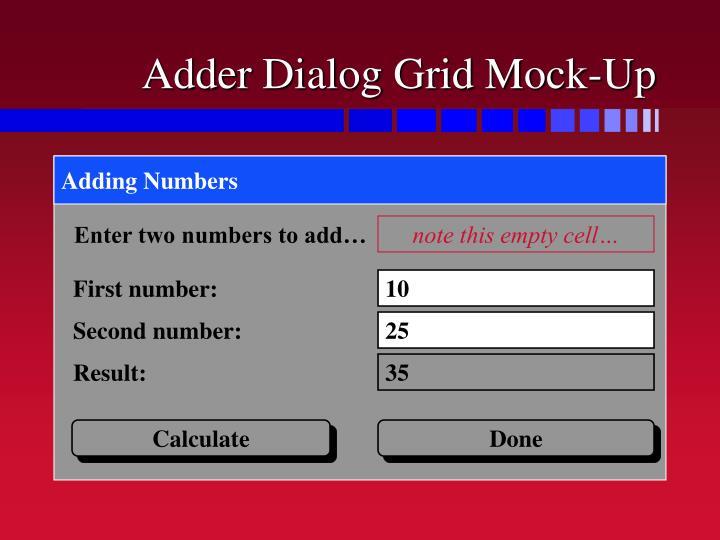 Adder Dialog Grid Mock-Up