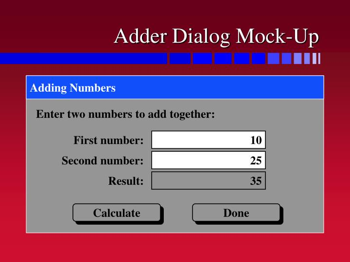 Adder Dialog Mock-Up
