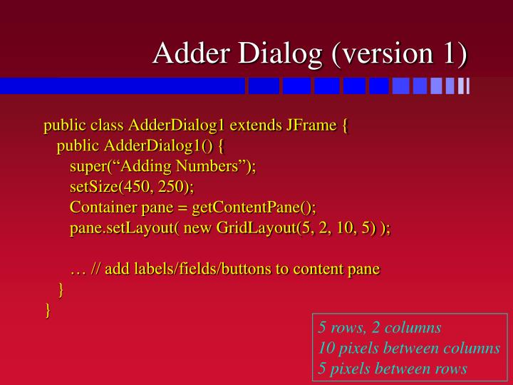 Adder Dialog (version 1)