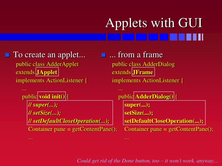 Applets with GUI