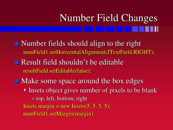 Number Field Changes