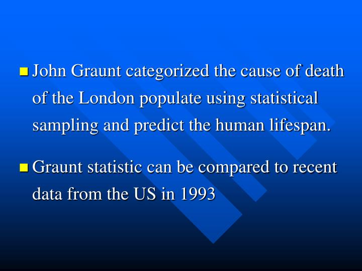 John Graunt categorized the cause of death of the London populate using statistical sampling and predict the human lifespan.