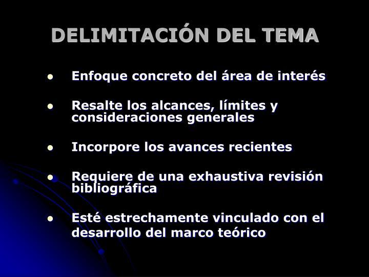 DELIMITACIÓN DEL TEMA