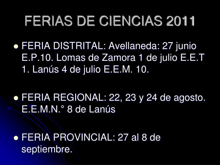 FERIAS DE CIENCIAS 2011