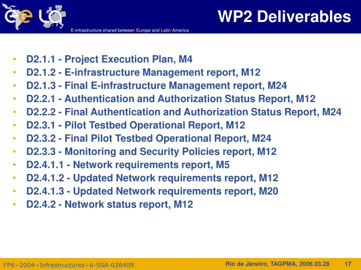 WP2 Deliverables