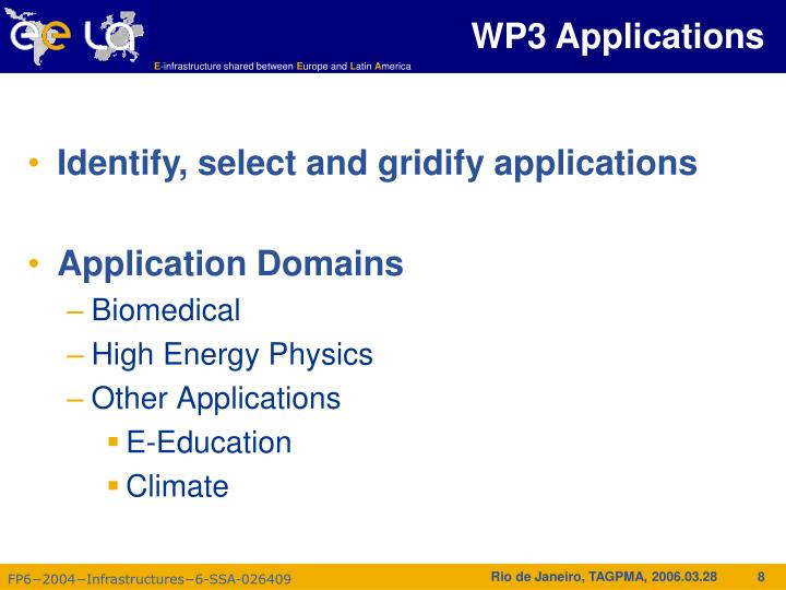 WP3 Applications