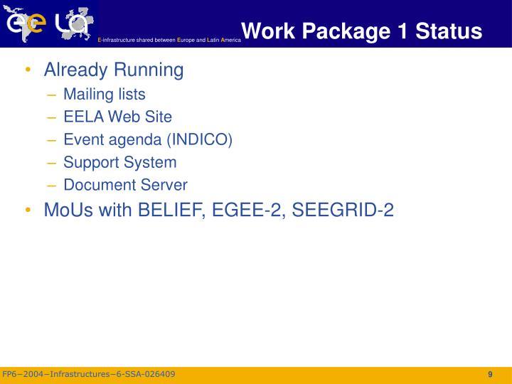 Work Package 1 Status